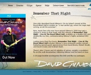 David Gilmour Remember That Night Microsite